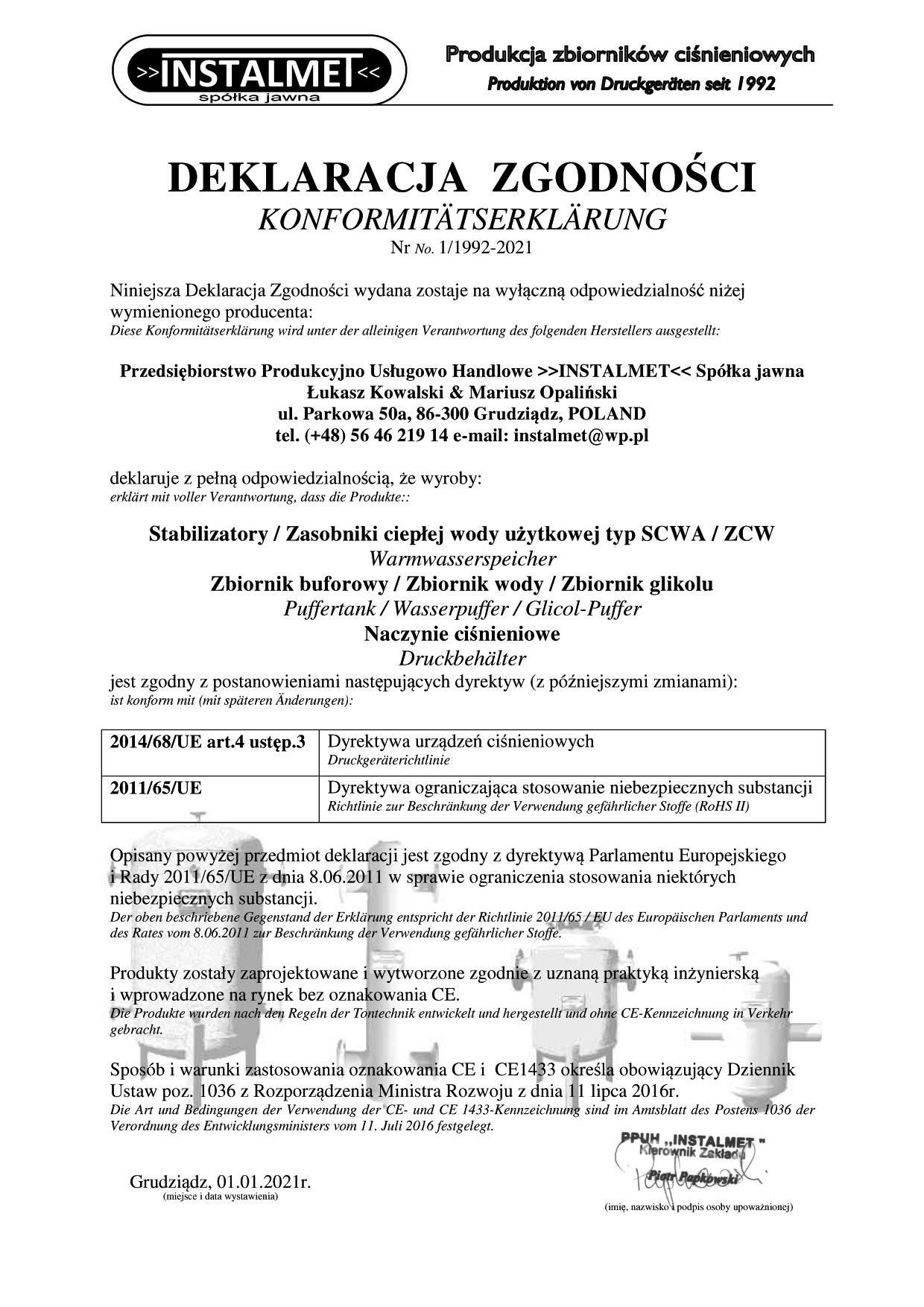 KONFORMITÄTSERKLÄRUNG 1992 - 2021